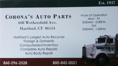 Corona's Auto Parts business card